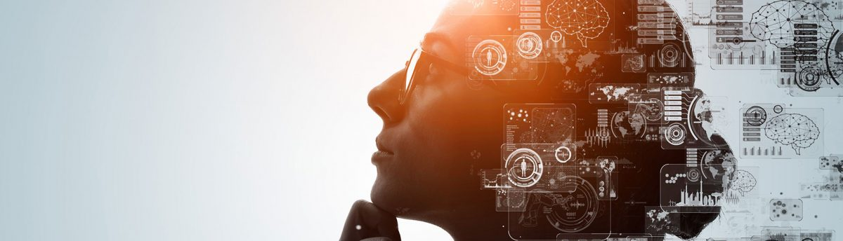 Impact Investor thinking about impact due diligence with technological icons around her head